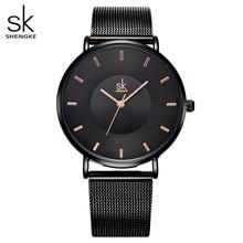 Shengke moda preto mulheres relógios de alta qualidade ultra fino relógio de quartzo mulher elegante vestido senhoras relógio montre femme sk