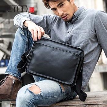 AETOO Original leather men's bag shoulder bag trend new Messenger bag simple men's first layer leather casual messenger bag цена 2017