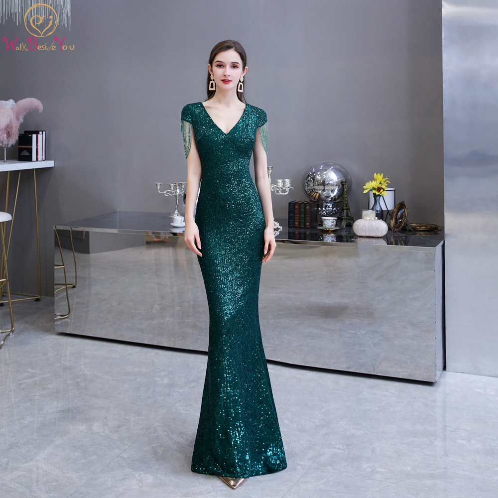 2020 Women Formal Dresses Green Sequin Beaded Tassel Cap Sleeves Mermaid Long Prom Gowns Floor Length Walk Beside You