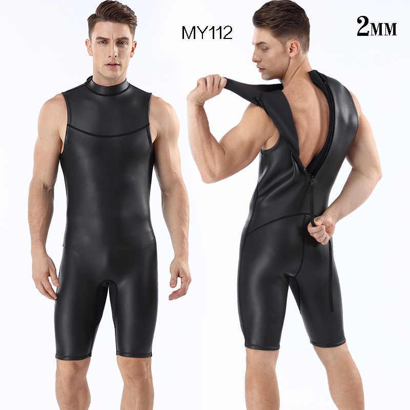 2mm CR Kısa Kolsuz Tek Parça Pürüzsüz Cilt Wetsuits Ultra Elastik Erkek Anti Soğuk Sıcak dalgıç kıyafeti
