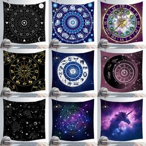 New Creative Astrolabe Chart Zodiac Wall Tapestry Hot Cosmos Celestial Stars Mandala Tapestry Wall Hanging Fabric Boho Decor(China)