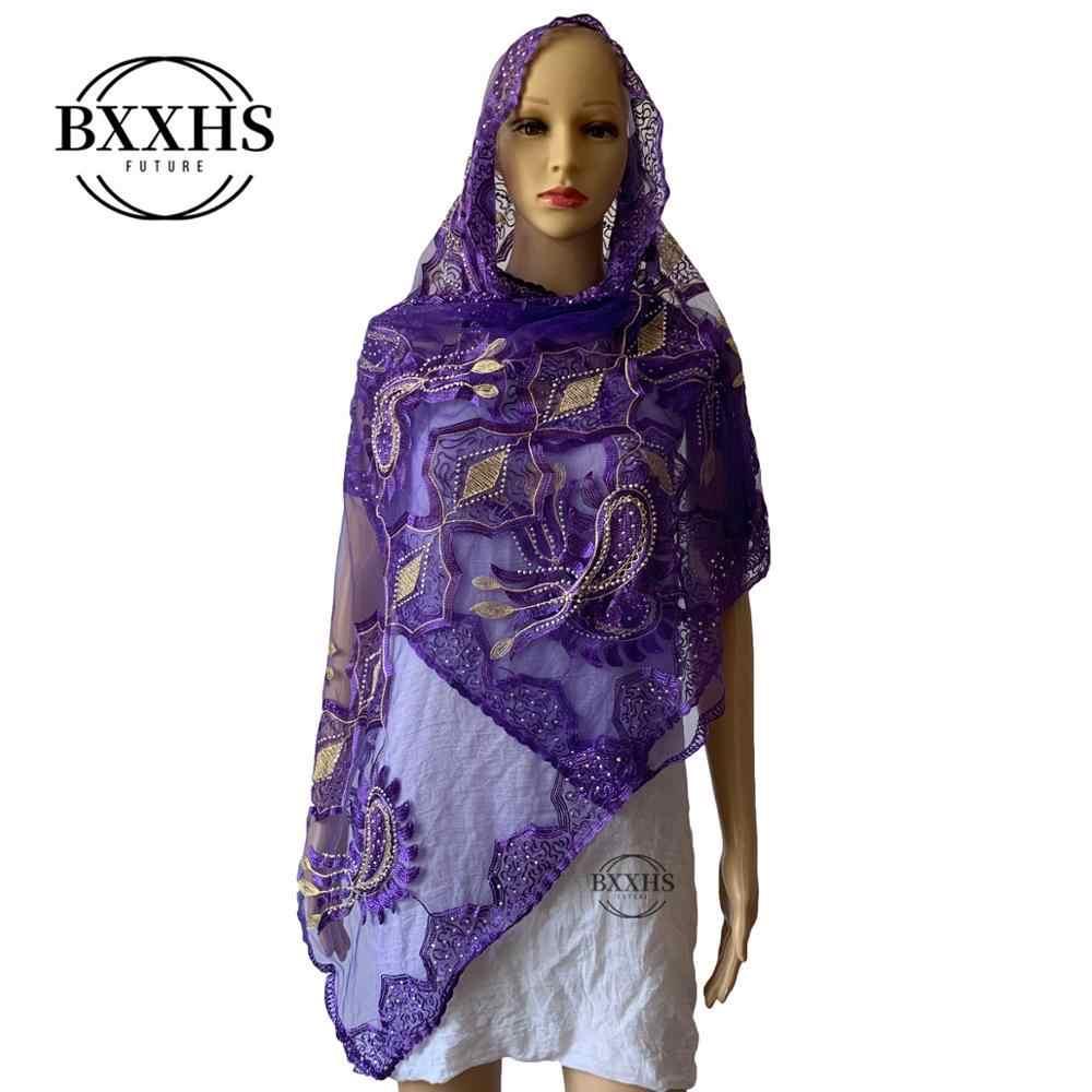 אפריקאי מוסלמי צעיף, 2019 חדש מוסלמי רקום נשים של כותנה צעיף, יפה וחסכוני, קטן גודל ליידי צעיף צעיף