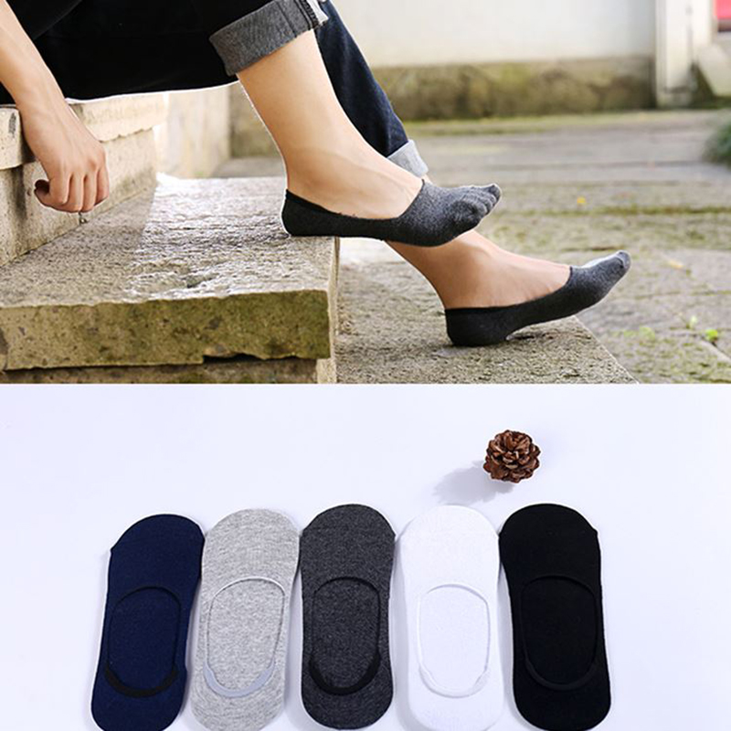5 pairs happy   Socks   summer solid color casual hidden hip hop popsocket low top short anti-slip cotton wholesale clothes