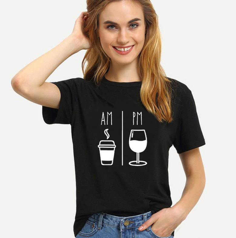 AM Coffee PM Wine Letter Print T Shirt Women Short Sleeve O Neck Loose Tshirt 2020 Summer Women Tee Shirt Tops Camisetas Mujer