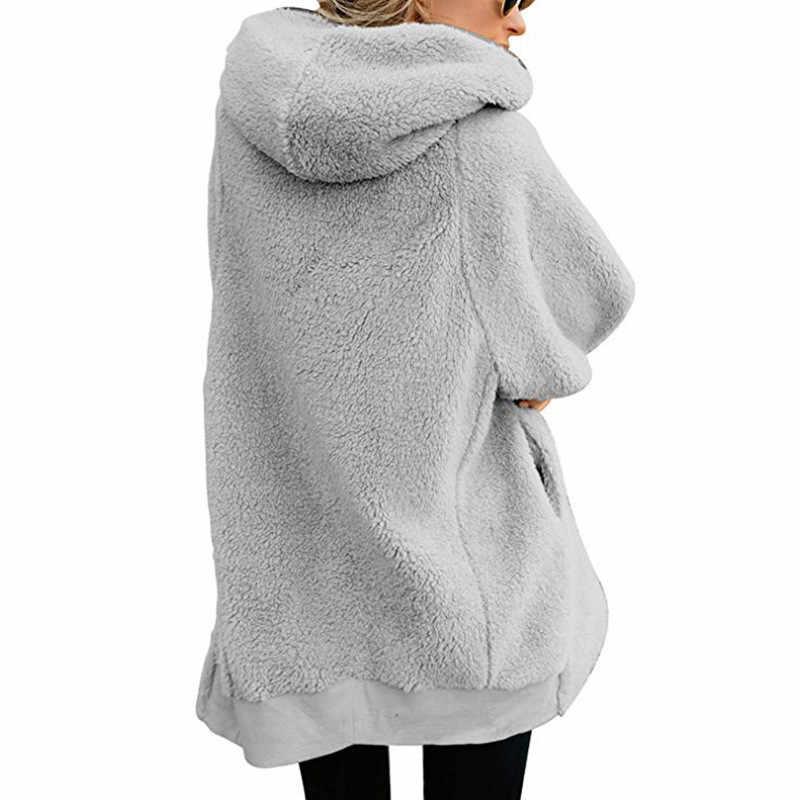 Mulheres Hoodies do Pulôver 2019 Lã De Cordeiro Jaqueta Zip Cardigan Casaco Quente de Pelúcia Teddy Brasão Plus Size Mulheres Patchwork Bolso Camisola