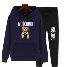 2021 Spring and Autumn Loose Hoodie Men's and Women's Sports and Leisure Two-piece Suit Bear Print Pullover Set