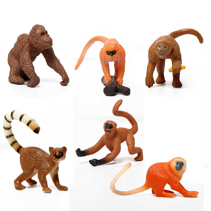 Фигурки диких животных guenon,orangutan,aki,golden monkey,Spider Monkeys, миниатюрные фигурки животных, игрушка для детей, подарок