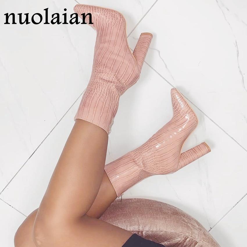 2019 nouveau hiver automne bottes femme bottines dames en cuir botte 10.5CM talons hauts bottes femmes Chaussure dame Chaussure