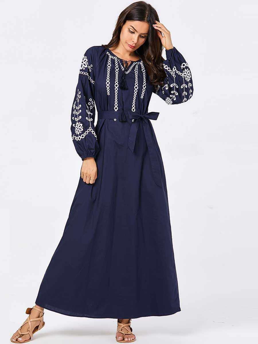النساء القفطان العباءة مسلم متواضع اللباس البحرية الأزرق التطريز زائد حجم القفطان الجلباب العربي كبيرة الخريف ماكسي فستان بكم طويل