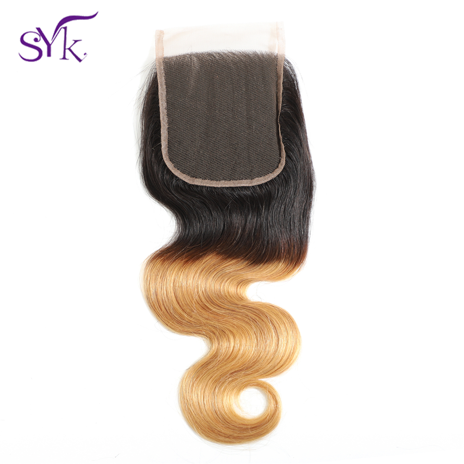 SYK Hair Ombre Lace Closure Brazilian Human Hair T1B/27 Body Wave Hair 4*4 Lace Closure Pre Colored Non Remy Hair Extensions
