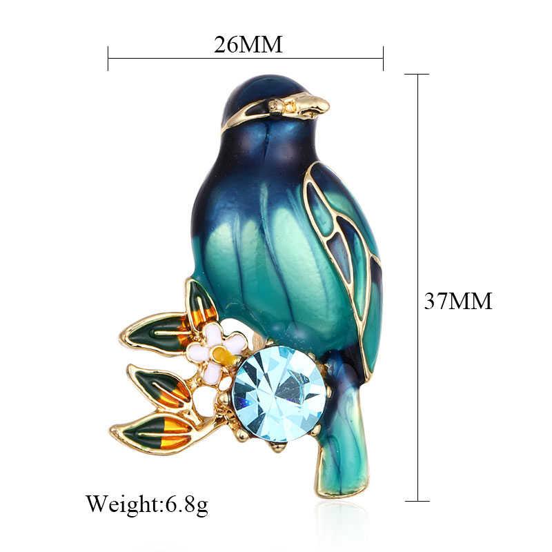 MAIKALE Variopinto Dello Smalto Uccello Spilla Spilli Fiori di Cristallo Spille Animali per le Donne Camicette Vestito Delle Ragazze Dei Capretti del Sacchetto di Accessori Regali