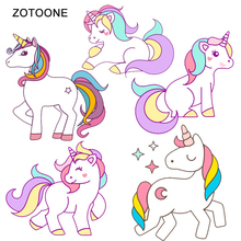 ZOTOONE 5-6pcs/lot Heat Transfers Iron on Patches for Clothing  DIY Unicorn T-Shirt Printed Clothes Stickers Vinyl Appliques G zotoone owl animal heat transfer patches for clothing sticker diy cute iron on letter transfert thermocollants t shirt printed g