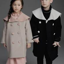 baby girls boys sailor collar woolen coat long sleeve black double breasted loose kids long overcoat(China)