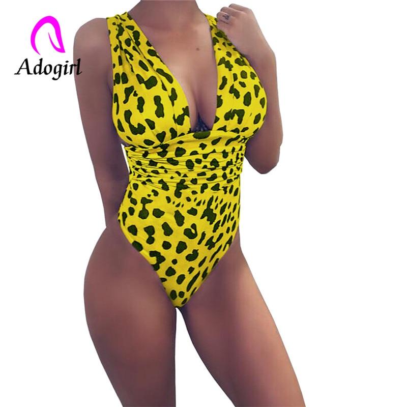 Adogirl Leopard Women Slim Bodysuit  V-neck Backless Sexy Bodycon 2019 Fashion Skinny Club Party Jumpsuits