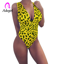 Adogirl Leopard Women Slim Bodysuit  V-neck Backless Sexy Bodycon 2019 Fashion Skinny Club Party Jumpsuits