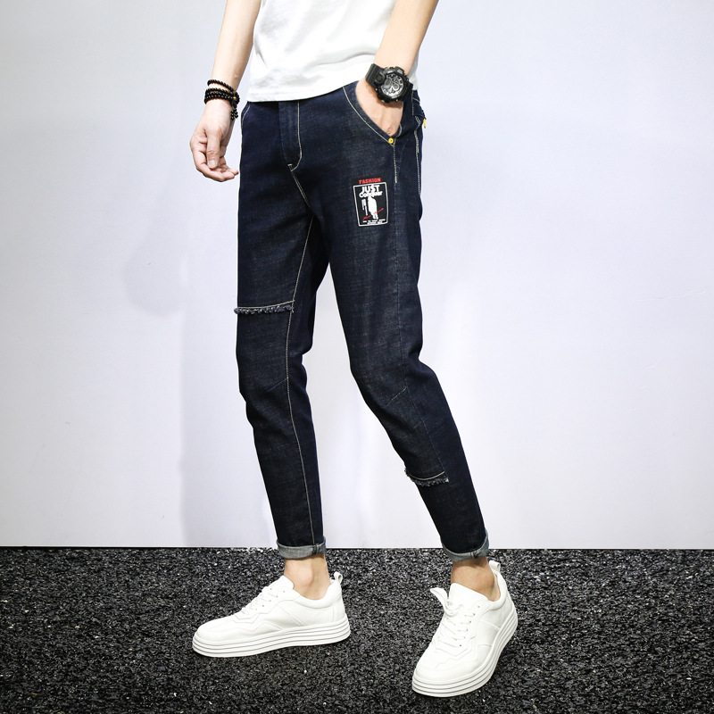 2019 Spring New Style Hong Kong Style Literature And Art Harem Skinny Seams Printed Map Trend Korean-style Slim Fit Capri Jeans