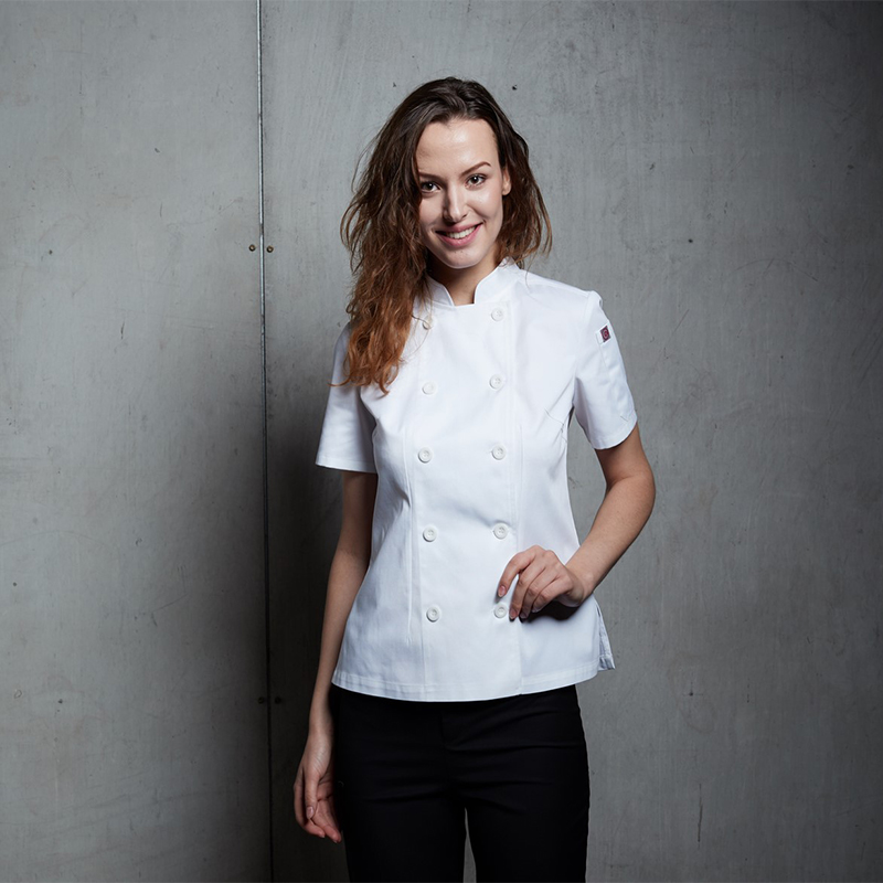 Checkedout Chef Waitress Uniform Restaurant Workwear White Short Sleeve Chef Jacket Women