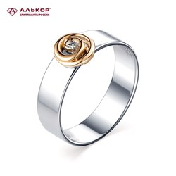Ювелирные изделия Алькор серебряное кольцо с золотом бриллиантом 01-1322/000Б-00