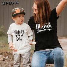 Verão família combinando t camisa curta mamãe e filho olhar imprimir letras mamãe meninos roupas moda t camisa litte bebê crianças outfits
