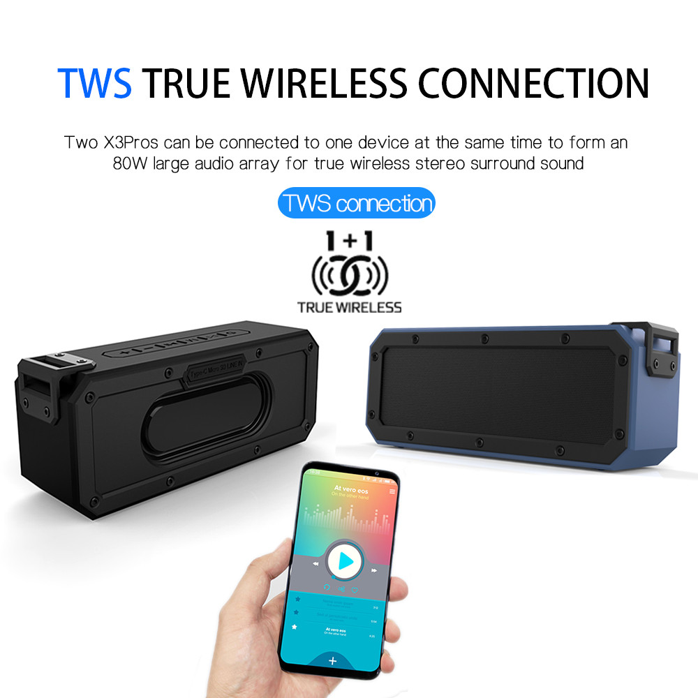 IPX7 4 2Waterproof Portable Wireless TWS Bluetooth stereo bass Speaker axx Audio DSP sound TF Speaker