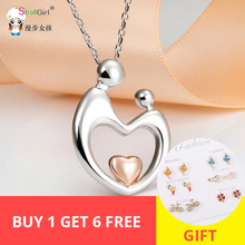 StrollGirl 925 Sterling Silver Mom Love Kid Necklaces with Hand in Hand Heart Pendant Necklace Fashion Jewelry for Women's Gifts genuine sterling silver 925 love heart mom hug kid necklace in jewelry pendant necklace with cz chain fashion jewelry for mother