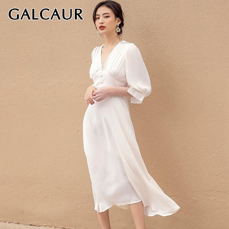 GALCAUR Vintage Elegant Women's Dress V Neck Puff Short Sleeve High Waist Tunic Midi Dresses For Female Fashion Clothes 2020 New