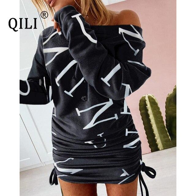 Фото qili женское платье с длинным рукавом и принтом на завязках цена