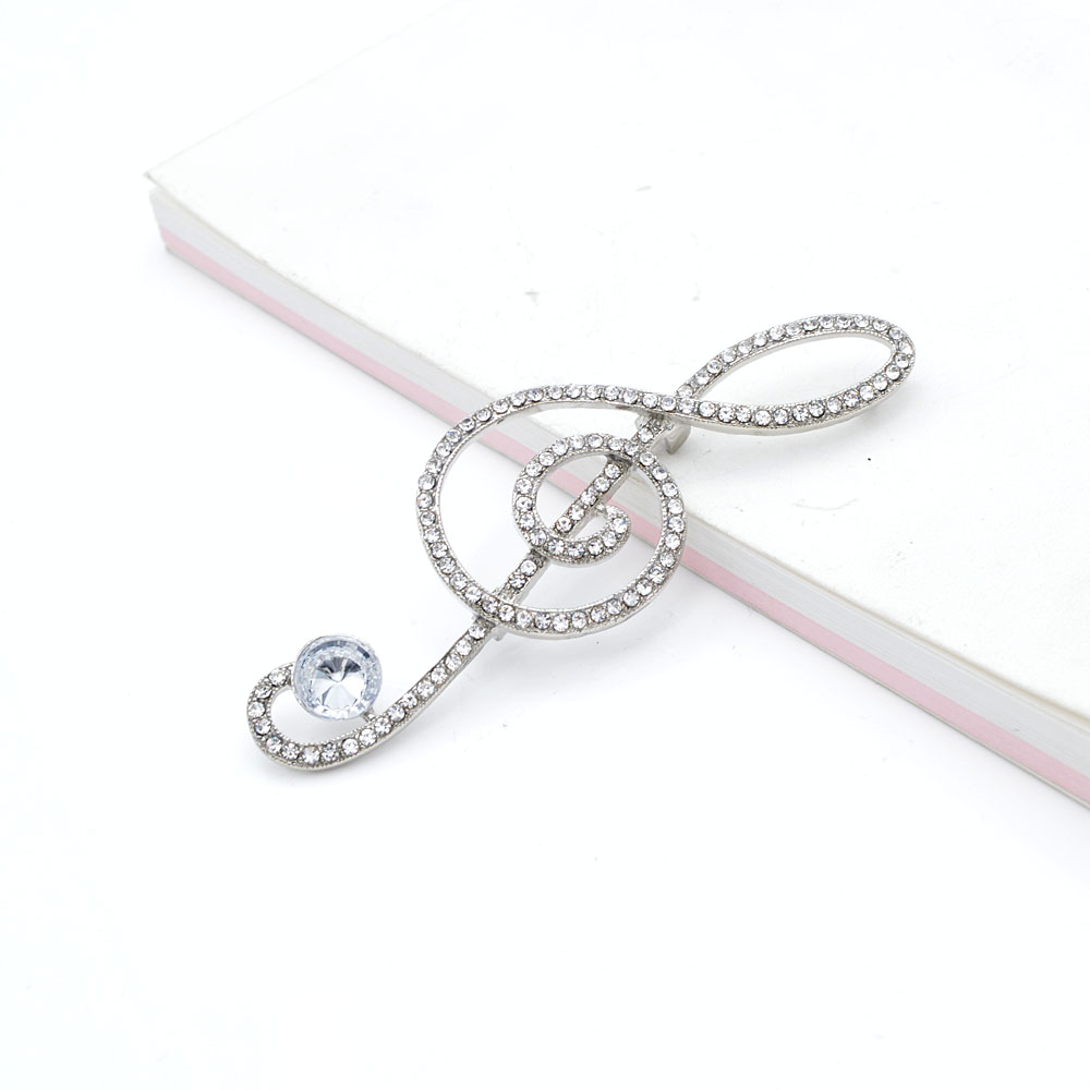 Cindy Xiang Rhinestone Music Jewelry Treble Clef Brooch 2 Colors Available