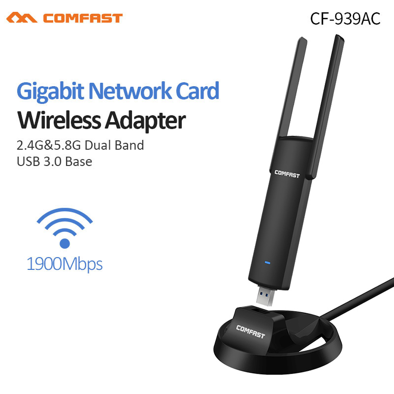 USB3.0 Wireless WiFi Adapter 2.4G//5.8GHz Dual Band Gaming Network Card with Base
