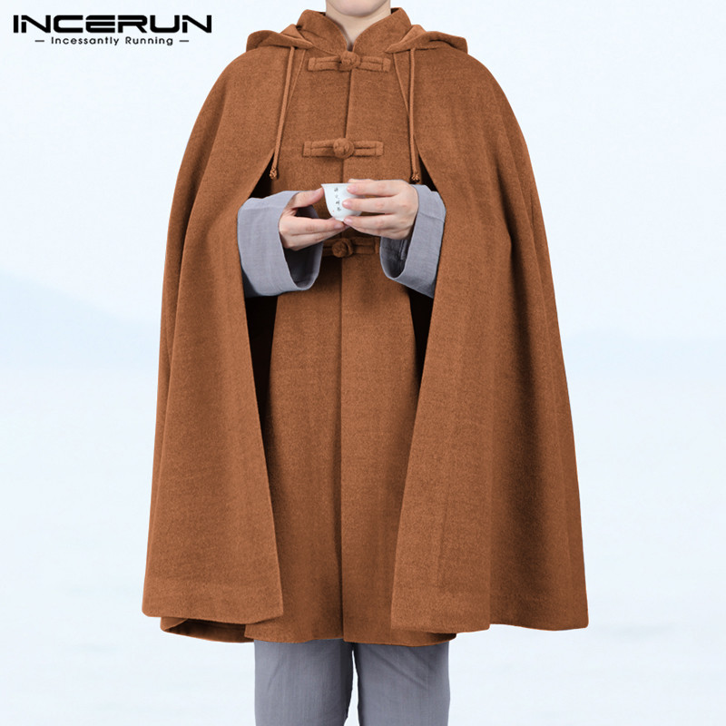 INCERUN Men Cloak Coats Hooded Cape Vintage Solid Loose 2020 Button Fleece Winter Casual Mens Trench Poncho Streetwear Jackets