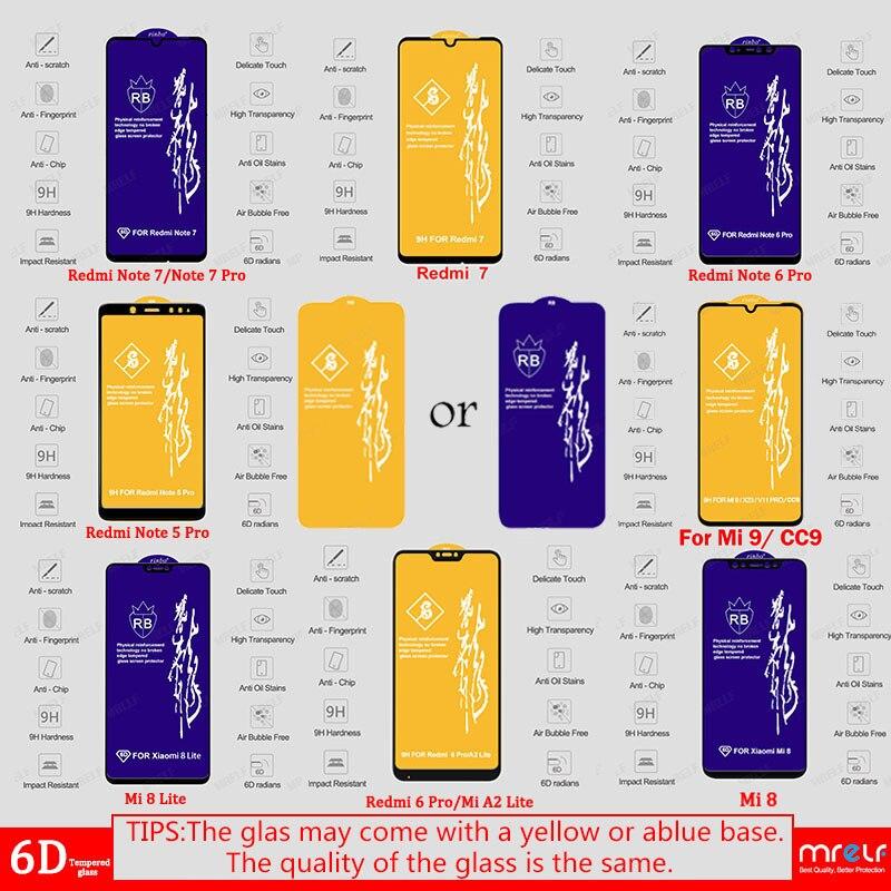 6D Glass for Xiaomi Redmi Note 7 6 Pro 5 4X Screen Protector on Redmi 7A Note 7 5 6 Pro Tempered Protective Glass for Xiaomi Mi 9 SE 8 A2 Lite A3 CC9 CC9E Mi 9 Safety Glass Redmi Note 7 5 6 Pro 4X 7A Screen Protection