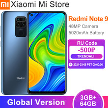 Versão global xiaomi redmi nota 9 3gb 64gb smartphones 48mp quad câmeras 6.53