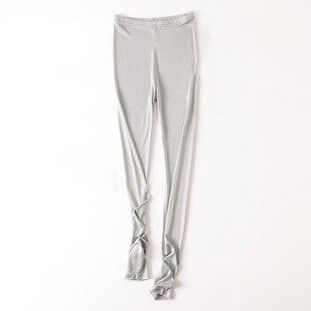 بنطلون ضيق للسيدات عالي الخصر 100% مصنوع من الحرير الطبيعي بمقاسات كبيرة من modis leggins بنطلون أسود بيان تايت ليجينسي damskie legins