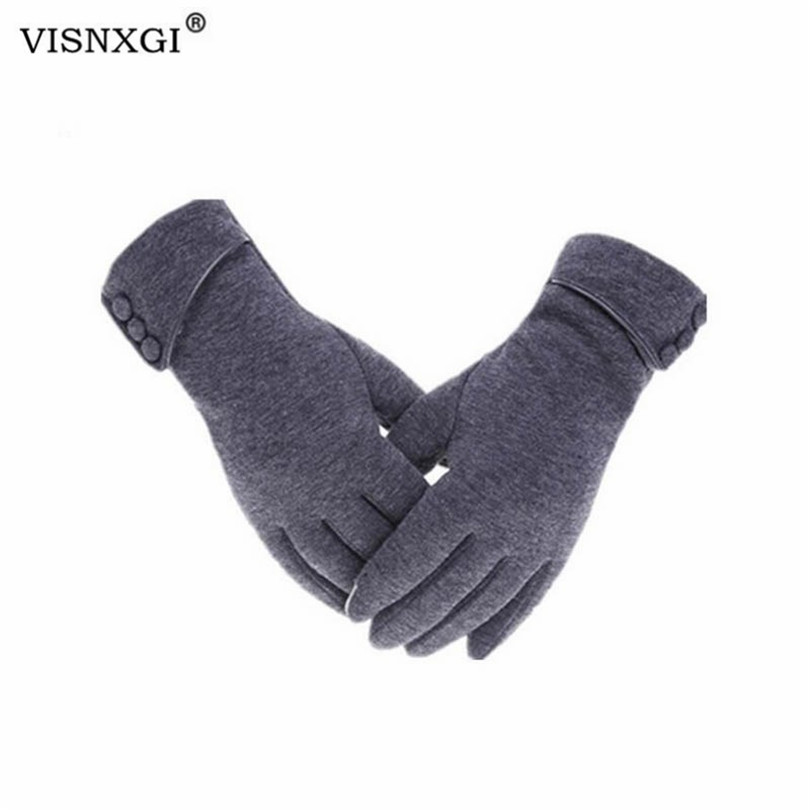 VISNXGI Keep Warm Gloves Full Fingers Mittens Woman Winter Gloves Button Red Thick Cashmere Touched Screen Gloves Adult Wrist