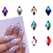 цена на 10Pcs Crystal AB Rhombus Nail Glitter Rhinestones Glass Flat Back 3D Diamond 6X10mm Paillette Nail Art Decorations