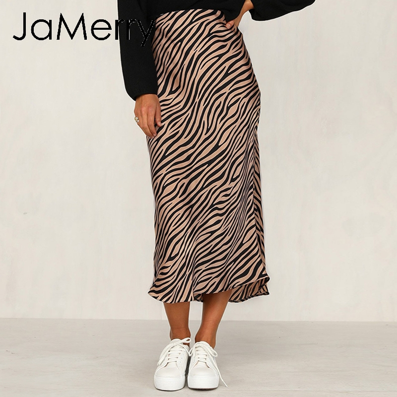 JaMerry Vintage Zebra Stripe Women Midi Skirt High Waist Straigh Animal Print Female Bottom Skirt Leisure Party Night Club Skirt