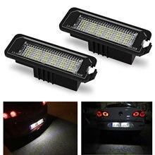 Luz LED blanca para matrícula de coche, sin Error, 18SMD, 12V, 6500k, accesorios para VW Golf MK4, MK5, MK6, Passat, Polo, CC, Eos, 2 uds.