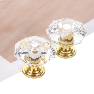 10Pcs Acrylic Crystal Knobs Cupboard Drawer Pull Handle Door Knob Diamond Shape Cabinet Knob Home Furniture Accessories