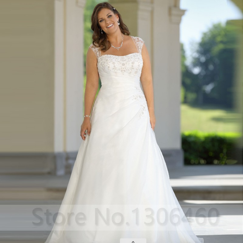 A-line Plus Size Wedding Dresses With Appliques Beading Bridal Gowns Floor Length Big Size Women Wedding Dress