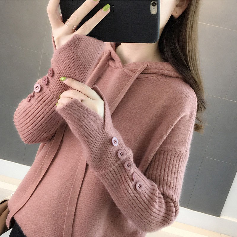 Nice Women Autumn Winter Hooded Knitted Sweater Long Sleeve Stretchy Pullovers Female Button Solid Casual Tops