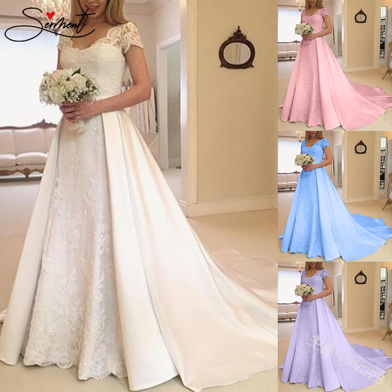 SERMENT Floral Print Satin Pink Purple Long Evening Dress Court 50cm Train Suitable For Formal Spring Fall Evening Wedding Party