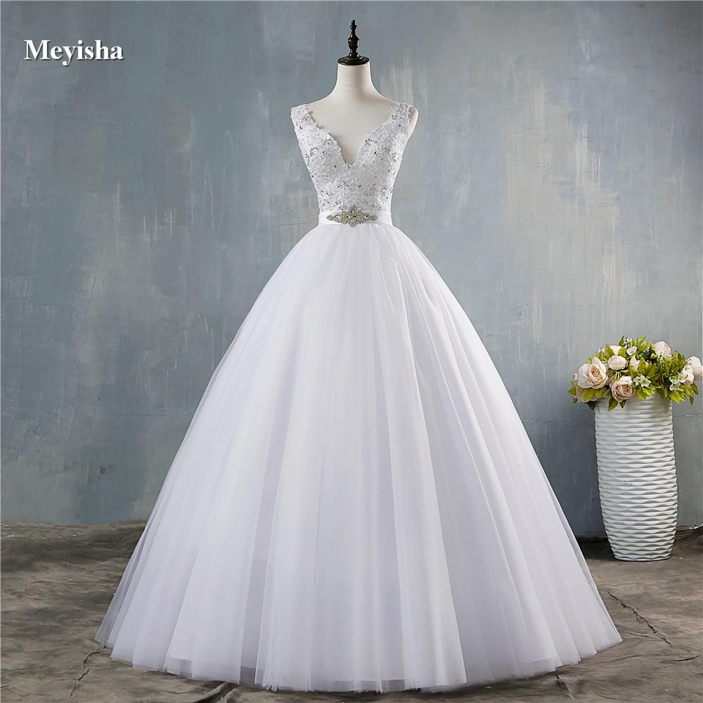 ZJ9172  2020 New V Neck White V Neck Vintage Wedding Dresses For Brides Dress Plus Size