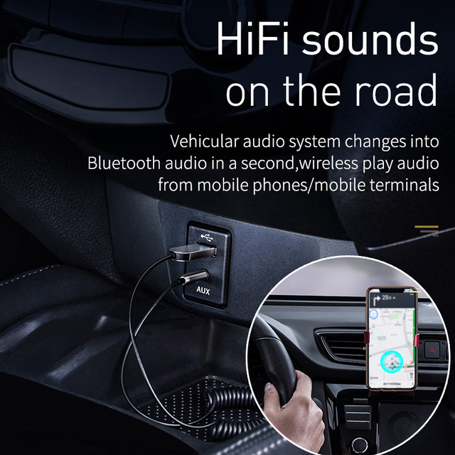 Baseus Bluetooth Transmitter Wireless Bluetooth Receiver 5.0 Car AUX 3.5mm Bluetooth Adapter Audio Cable For Speaker Headphones 1