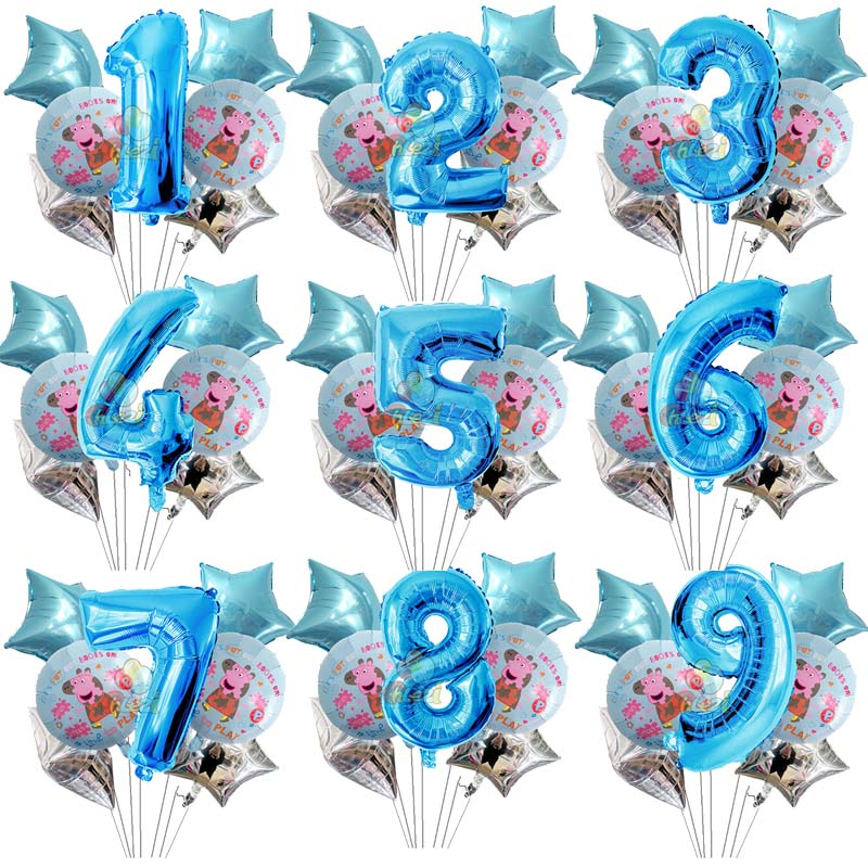 Image 3 - 7pcs 18 inch Peppa Pig helium balloons children Birthday party decorations Number 1 2 3 year baby shower George ballon Kids toys-in Ballons & Accessories from Home & Garden