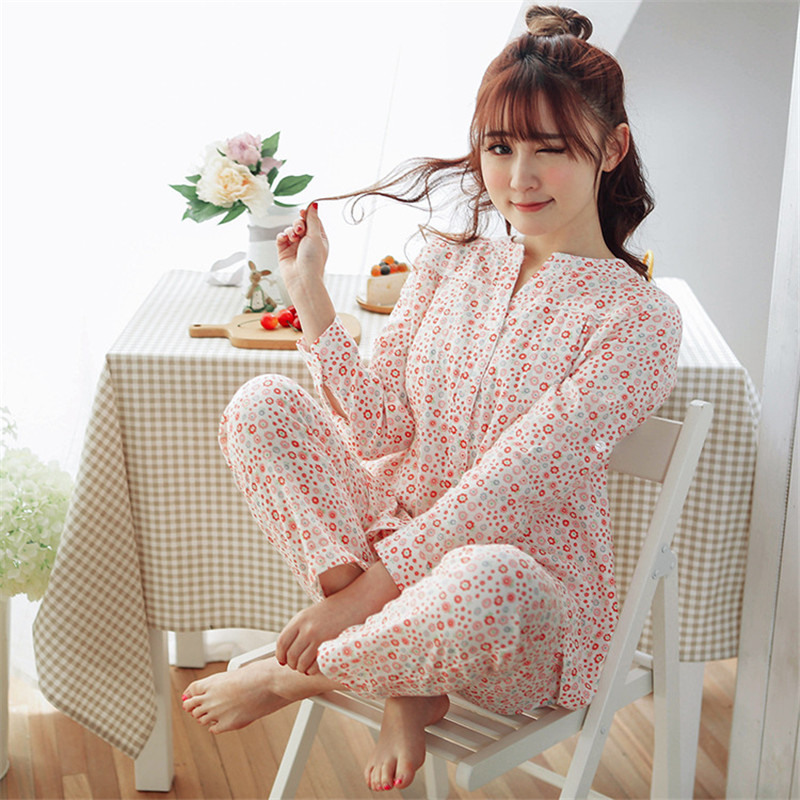 JULY'S SONG Cotton Soft Sleepwear Women 2 Pieces Pregnant Women Postpartum Cotton Ppajamas Set