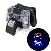 Светодиодный светильник-дисплей USB интерфейсы тонкая зарядная док-станция геймпад двойное зарядное устройство Новинка для PS4 игровая Зарядная база игровой контроллер зарядное устройство