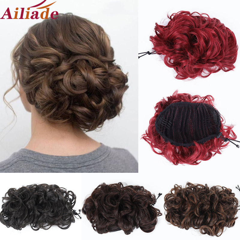 AILIADE Messy Hair Bun Curly Chignon Synthetic Hairpiece For Women Hair Elastic Rubber band  2 Combs Clip in Updo Hair Extension