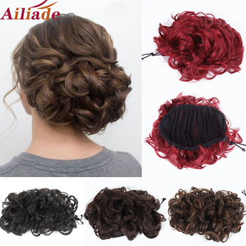 AILIADE Messy Hair Bun Curly Chignon Synthetic Hairpiece For Women Elastic Rubber band  2 Combs Clip in Updo Extension - discount item  40% OFF Synthetic Hair
