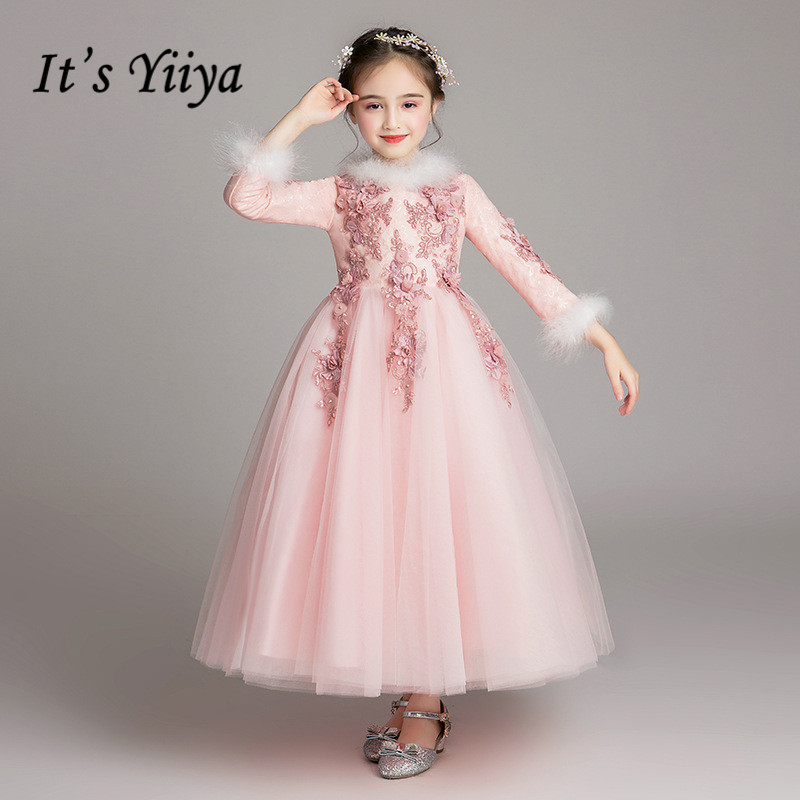 Long Sleeves Flower Girl Dress It's Yiiya B029 Appliques Beading O-neck Princess Gowns Elegant Flower Girl Dresses For Weddings