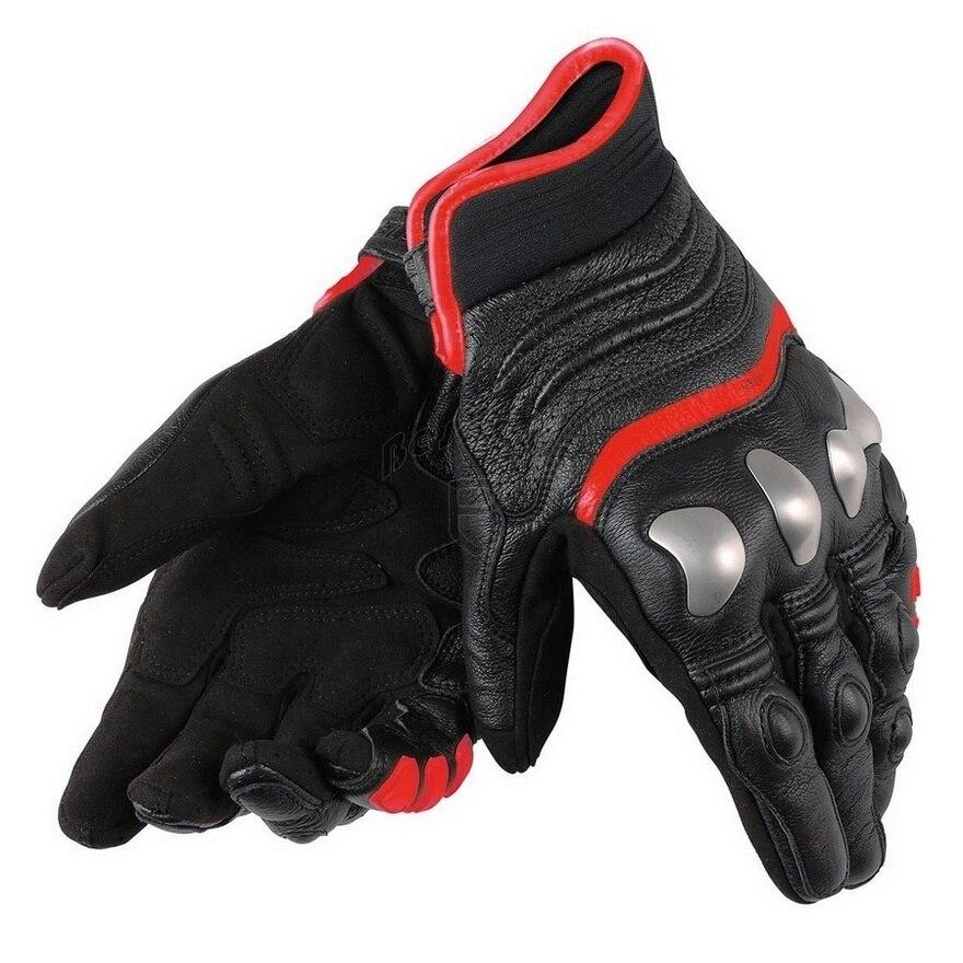 Nowy 3 kolory prawdziwej skóry Dain X-Strike rękawice motocyklowe w całości z metalu wyścigi rękawice jazdy krótkie motocyklowe rękawice ze skóry wołowej